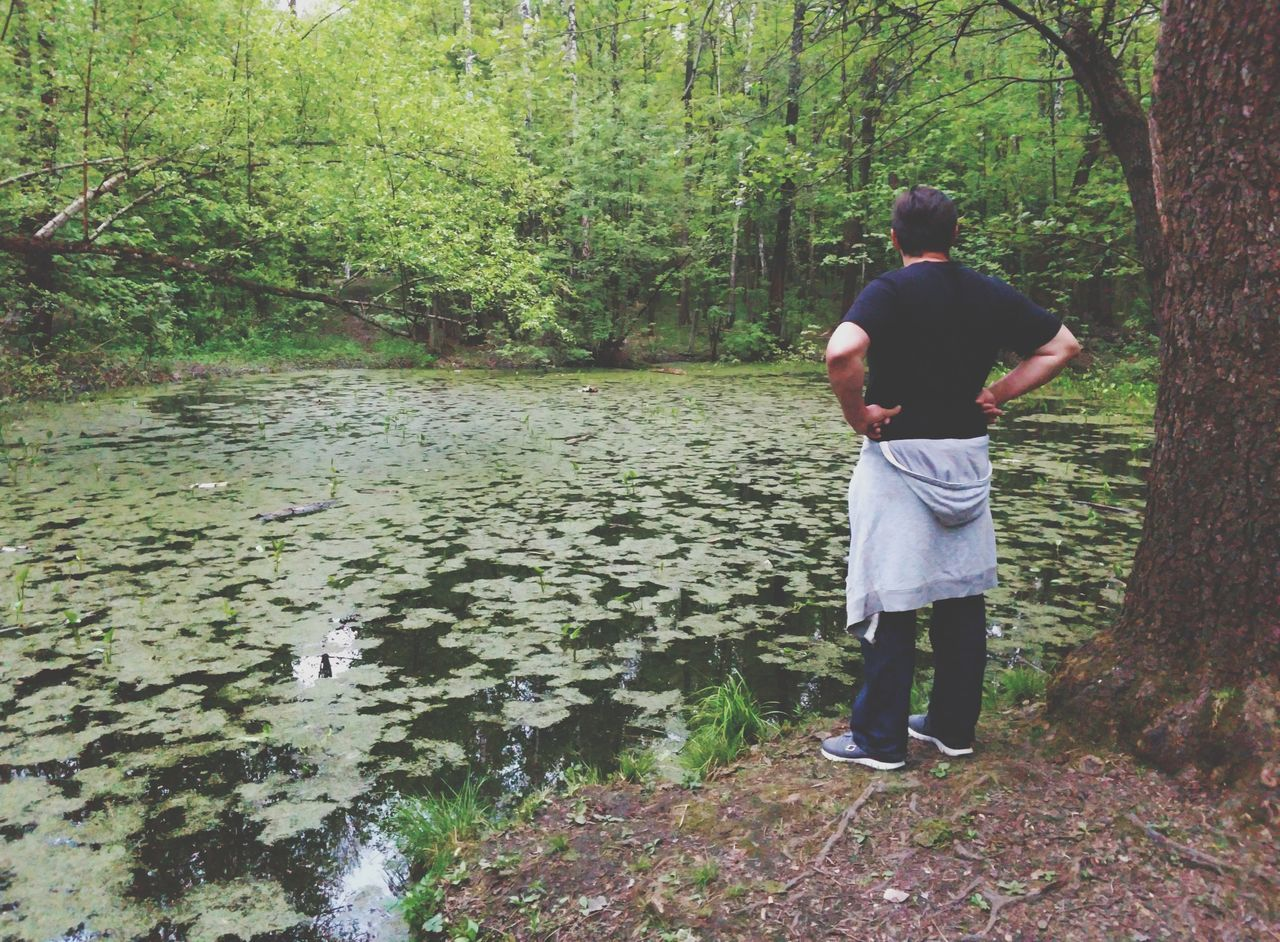Rear View Men Real People Standing Day Full Length Water Outdoors Nature Togetherness Adult People Tree River Only Men Adults Only