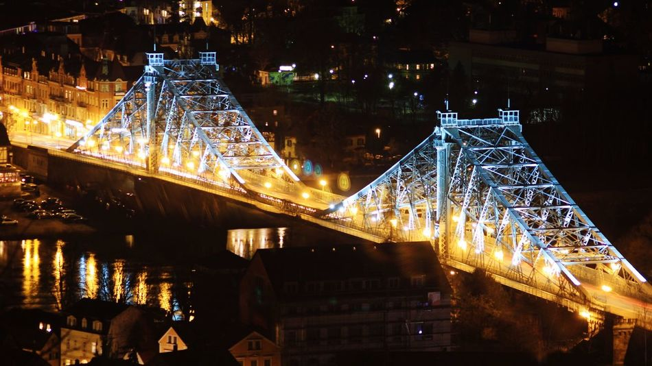 Dresden Showcase: February Blaues Wunder  Blaueswunder Night Night Lights Loschwitz Cities At Night Nightphotography
