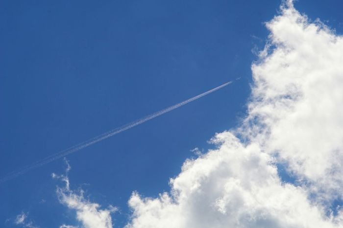 Capture The Moment Vapor Trail Airplane Contrail Transportation Blue Sky And Clouds Mode Of Transport Cloud Majestic Fine Art Manual Focus Beauty In Nature Sky Composition Landscapes Travel Selective Focus EyeEm Nature Lover Lookingup Nature Tranquil Scene EyeEm Best Shots 16_09
