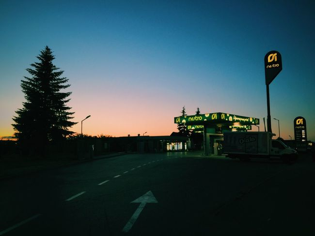 Gas station Clear Sky Transportation Tree Sky No People Outdoors Illuminated Road Sign Night Sunset Nature Architecture Gas Station