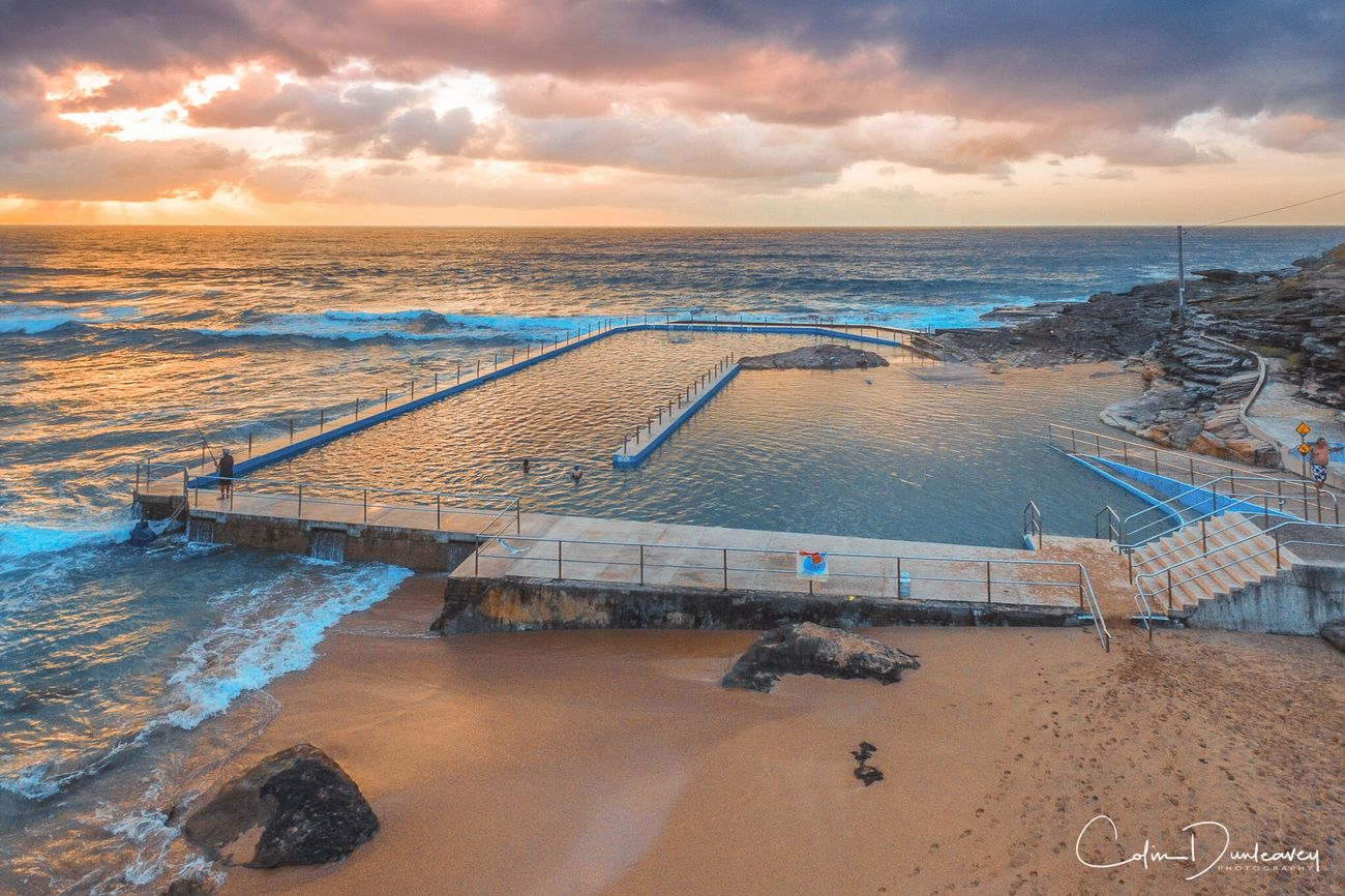 Sunrise at South Curl Curl pool, on Sydney's Northern Beaches Sea Beach High Angle View Tranquil Scene Cloud - Sky Coastline Ocean First Eyeem Photo