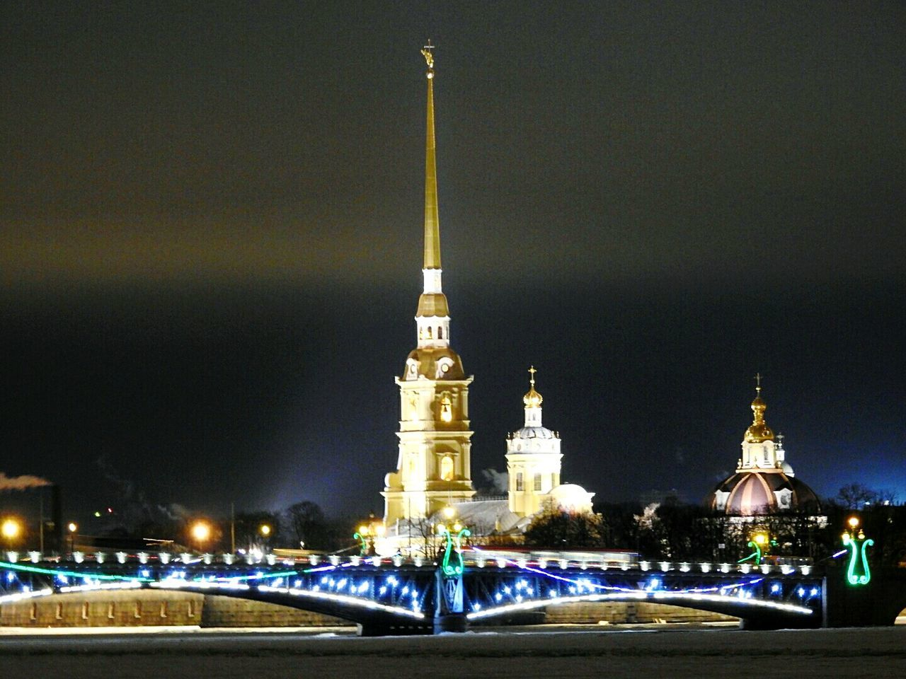 Tower Petropavlovskayafortress Night City Travel Destinations Illuminated Cultures Architecture Sky Troickii Bridge Street Photography Finding New Frontiers Happy New Year 2017 Colors Of Sankt-Peterburg Sankt-Petersburg Russia