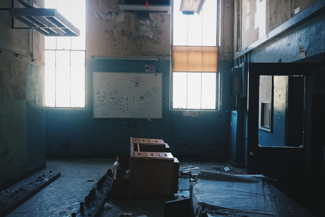 abandoned, window, damaged, indoors, architecture, run-down, bad condition, no people, day, desolate, bleak