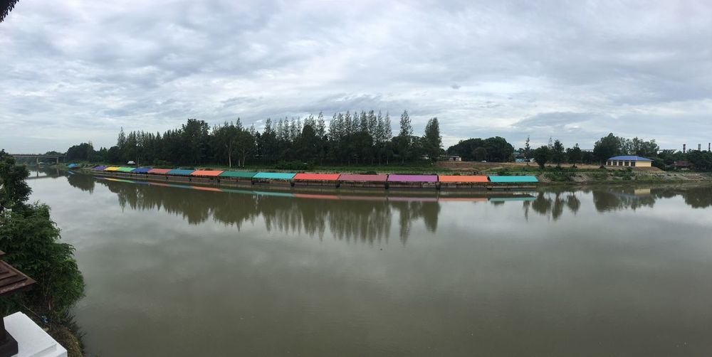 Panorama IPhoneography Water Reflection Waterfront Transportation Lake Nautical Vessel Mode Of Transport Calm River Tranquility Tranquil Scene Scenics Sky Standing Water Nature Cloud Cloud - Sky Day Group Of Objects No People Floating On Water Floating Market Floating Restaurant