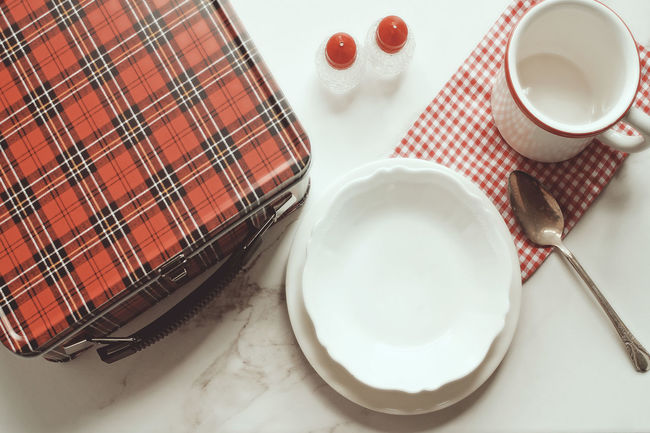 Lunch time Cold Lunch Empty Dishes Food And Drink Food Concept High Angle View Indoors  Lunch Lunch Box Meal Time Plaid Ready-to-eat Red Retro Table Setting Tablecloth Vintage