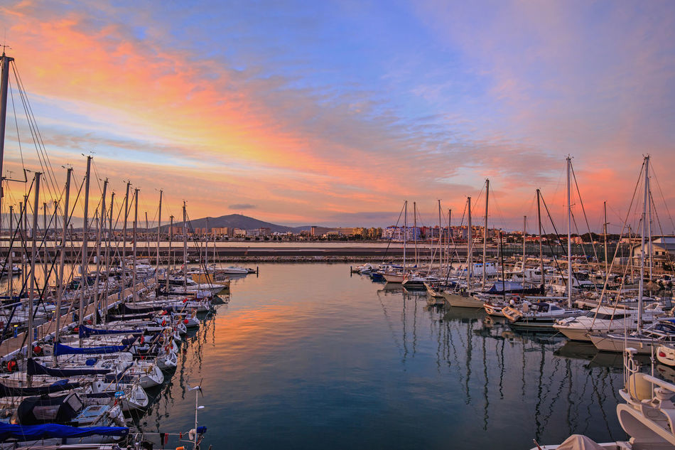 View from the Sunborn Yacht at night overlooking the Ocean View Harbour Boat Gibraltar Illuminated Mode Of Transport Moored Nautical Vessel Night View Nightphotography Ocean View Ocean_village Sea Sky Water Sunrise Ocean Harbour Landscape_Collection