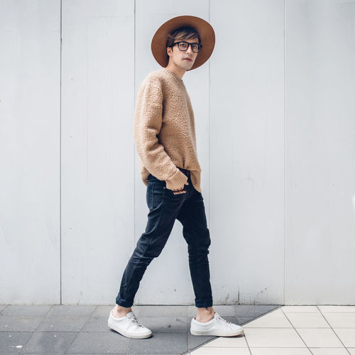 Blogger Casual Clothing City Fashion Fashion Week Fashionable Front View Full Length Hands In Pockets Japan Lifestyles Looking At Camera Menswear Portrait Shibuya Standing Streetstyle Sweater Tokyo Young Adult