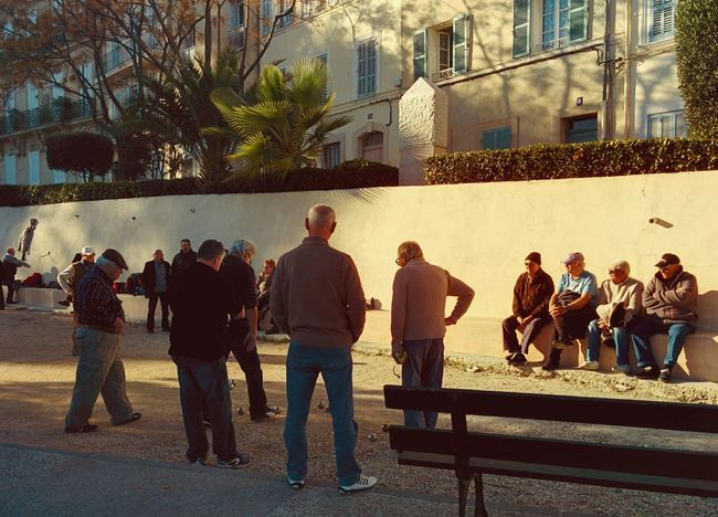 jeu de petanque in Sanary Boule Côte D'Azur France Leisure Activity Life Life Is Good Lifestyles Motion Outdoors People Petanque Time Playing Real People Sanary Sur Mer South France Spring Sun