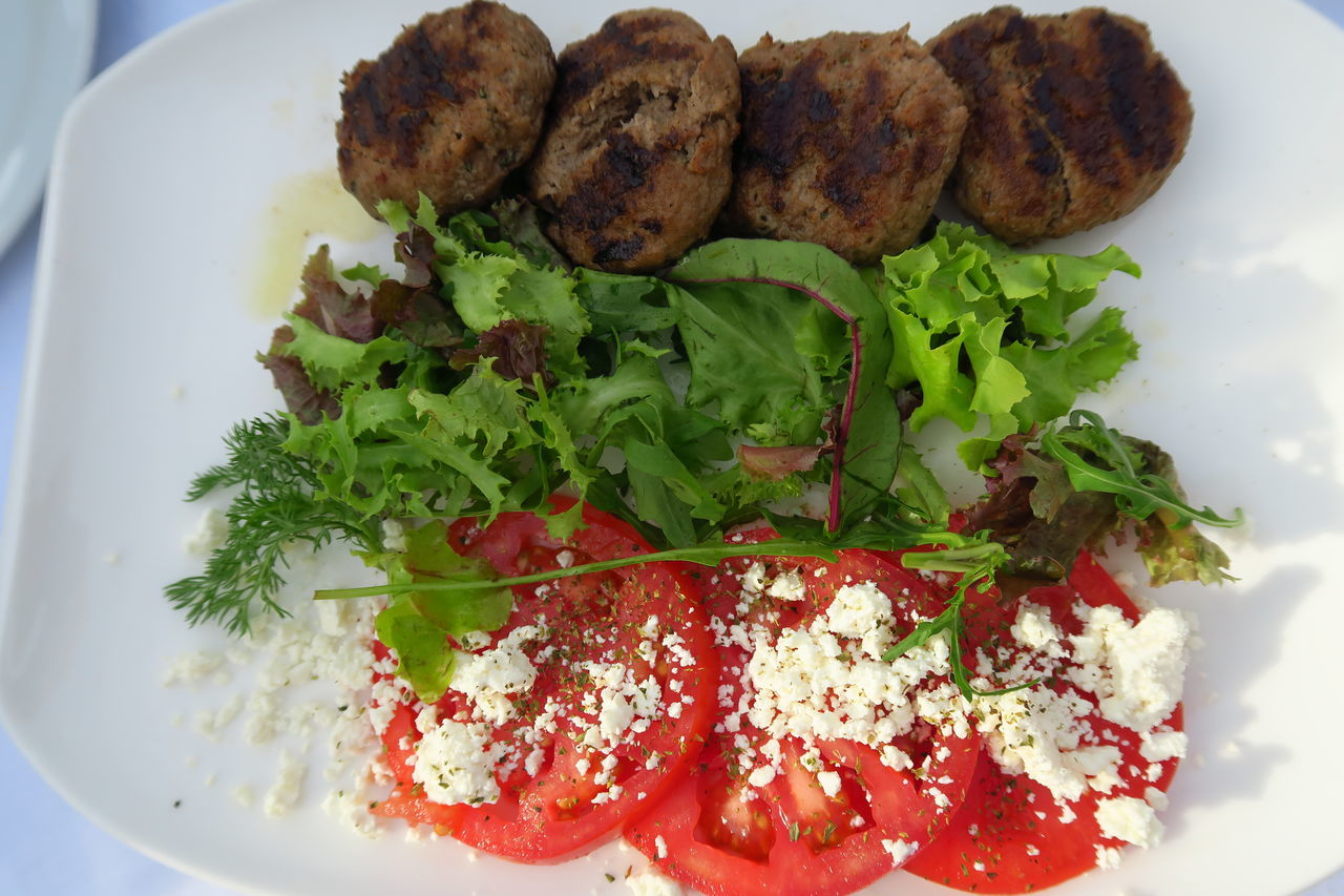 Fried Greek meatballs with tomato, cheese & salad. Aegean Beef Chalkidiki Close-up Cooked Dinner Dish Edible  Food Fried Greece Halkidiki,Greece Lunch Meal Meat Meatballs Mediterranean Food No People Plate Pork Ready-to-eat Served Snack Taste Unhealthy Eating