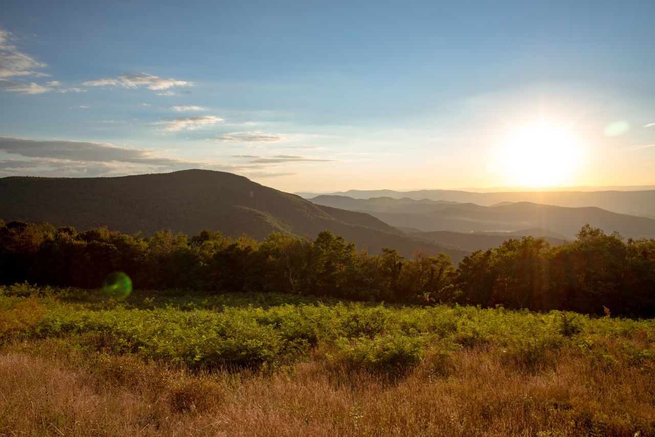 Beauty In Nature Blue Grass Inspirational Landscape Mountains Nature No People Outdoors Scenics Shenandoah Sky Sun Sunrise Sunset Tranquil Scene Tranquility