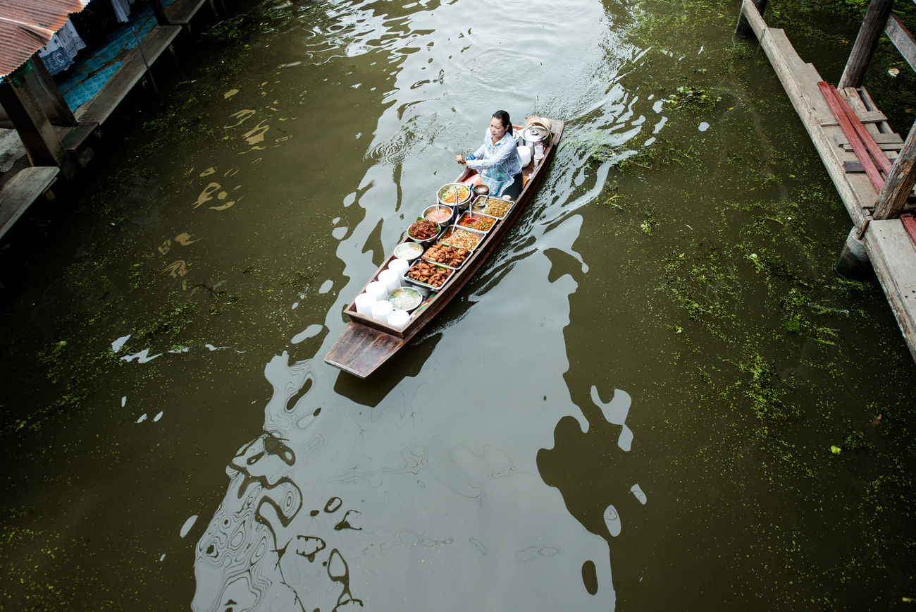 Adventure Boat Canal Floating Market High Angle View Market Thailand Transportation Traveling Trip Water Woman