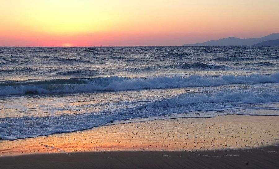 Beach Beauty In Nature Day Horizon Over Water Idyllic Nature No People Orange Color Outdoors Sand Scenics Sea Shore Sky Sun Sunlight Sunset Tranquil Scene Tranquility Travel Destinations Vacations Water Wave