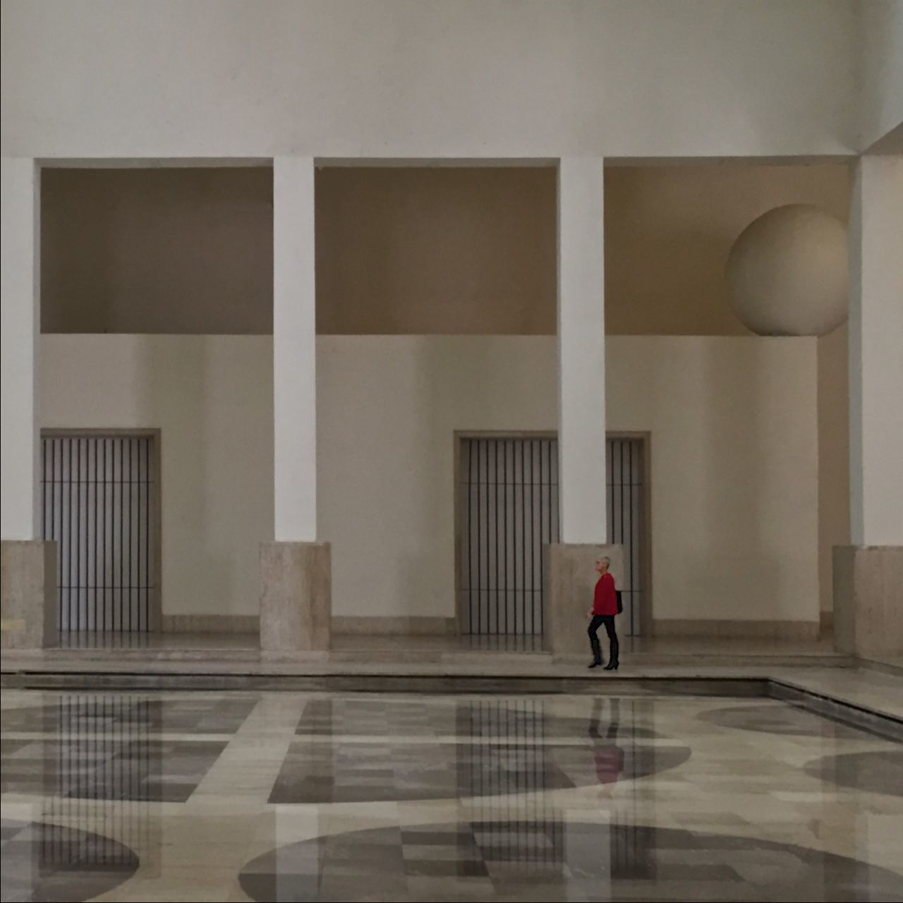 169 / 366 Arches Architecture Building Built Structure Columns Corridor Frames Indoors  Leisure Activity Person Reflection Reflections In The Water Walking Wall - Building Feature Woman Rule Of Thirds Ruleofthirds Marco Museo Marco Museomarco Legorreta Arquitectosmexicanos Fine Art Photography