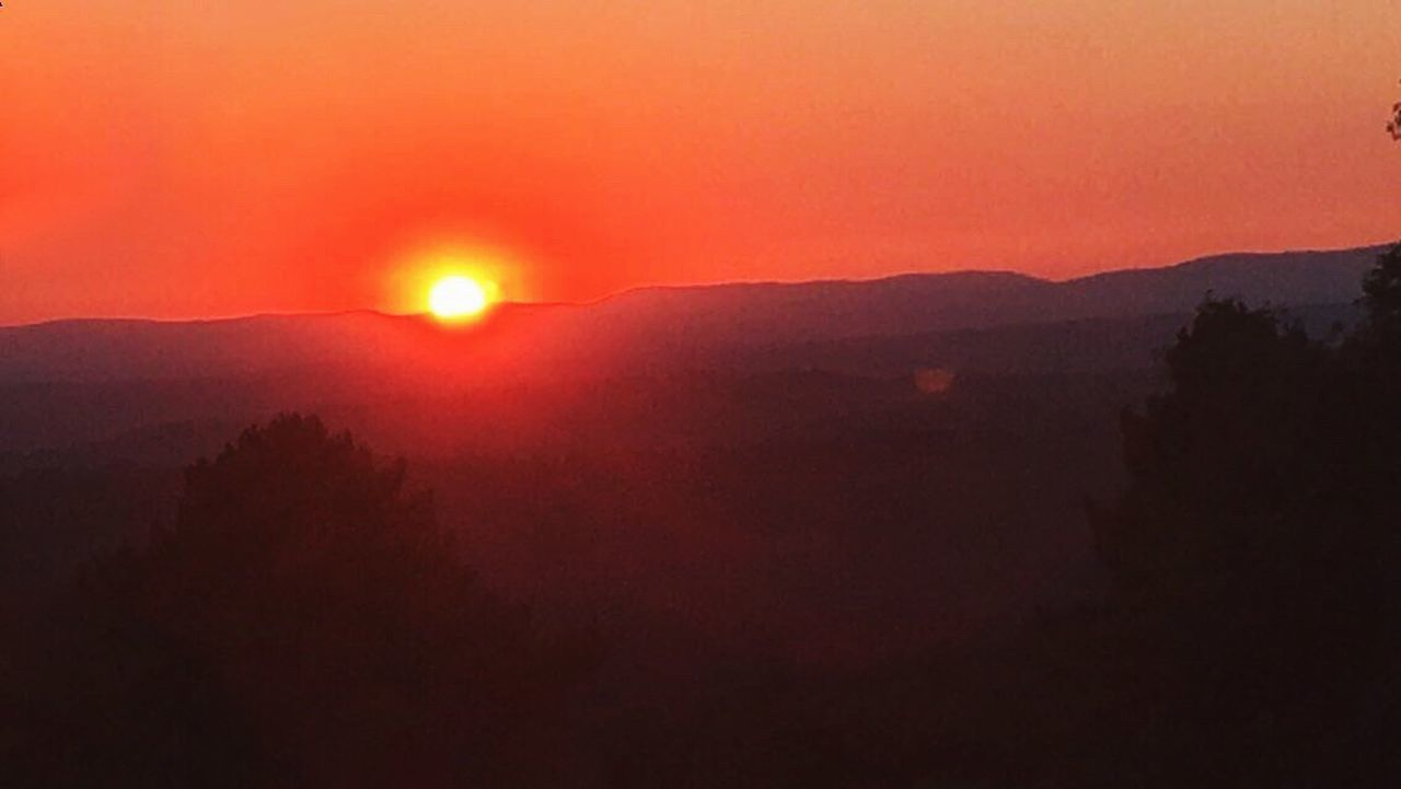 Sunset Mountain Sun Beauty In Nature Outdoors Mountain Range Majestic Tranquility Nature Orange Color Vibrant Color Red Scenics Tranquil Scene Calm Atmosphere Top View Silhouette Outline Idyllic Dark SPAIN Red Sky Orange Sky First Eyeem Photo