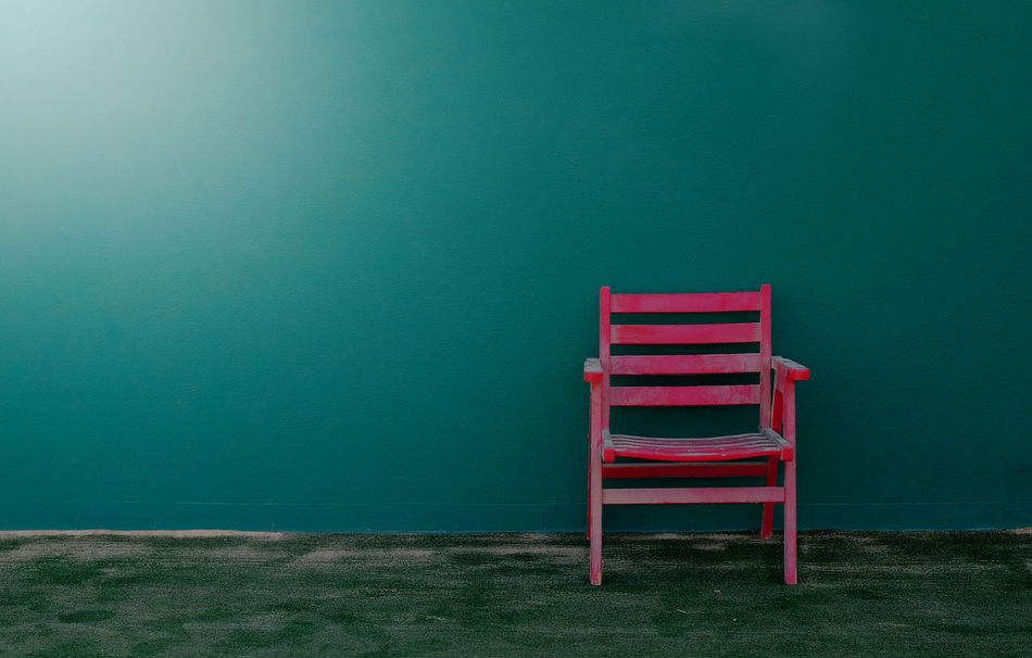 Abandoned Chair Copy Space Day Deserted Green Color Green Wall Intense Colors Millennial Pink Minimalism No People Pink Chair Simplicity Tennis Court Tranquil Scene Tranquility TCPM
