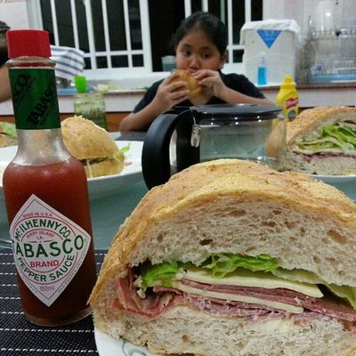 So good... AB's Ultimate Beef Pastrami and Cheese Sandwich. That's a large bottle of Tabasco on the side for scale lol! Lovefoodhatewaste Brunei InstaBruDroid Andrography