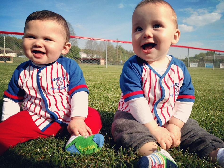 First Eyeem Photo Twin Boys Baseball Smile Summer Outside Photography Parenthood Parenting Son Sons Baseball Field Baseball Season Twinning Twinlife Grass Outdoors Blue Sky Warm Weather Sunny Day Custest Baby Ever Baby Love  Babyphotography Parent Babys Babyboy