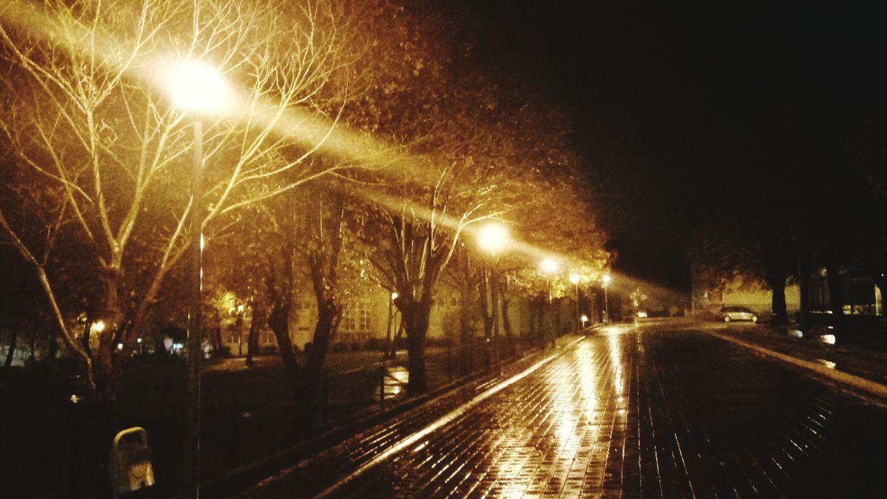 illuminated, night, street light, outdoors, no people, city, sky