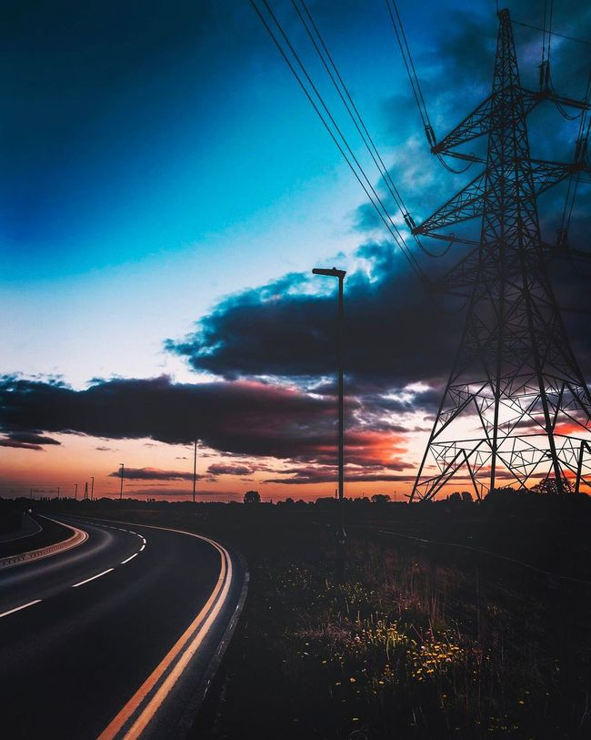 Electricity Pylon Road Sky Power Supply Sunset Cloud - Sky No People Transportation Outdoors Night Dramatic Sky Lifestyles Yorkshire Power In Nature England