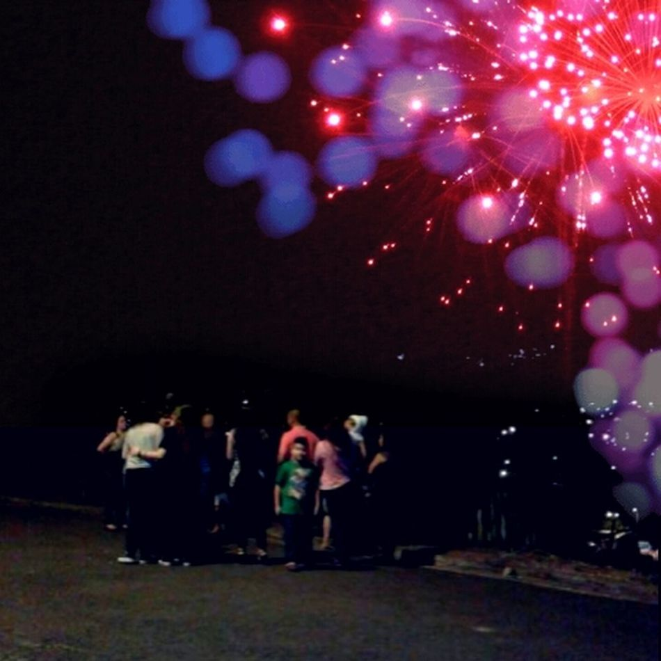 Fireworks Ligts Night Lights Noche Gente Año Nuevo  People Watching