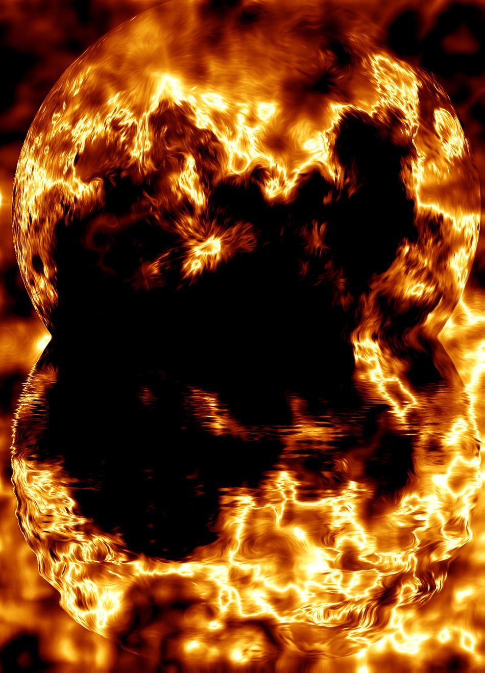 Fire Ball World On Fire Flames Burning Reflection_collection Special Effects