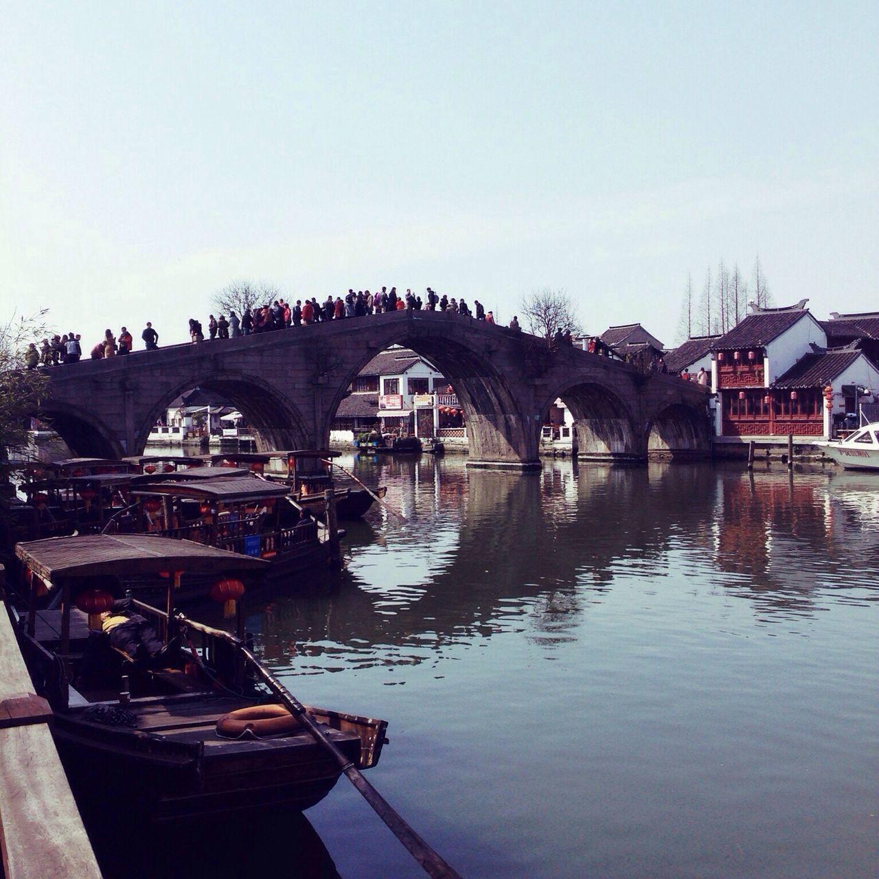 Water Architecture Reflection Sky Clear Sky Tree Real People Bridge - Man Made Structure Zhujiajiao Shanghai China