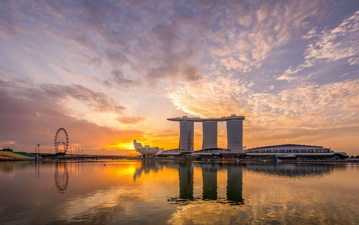 Marina Bay Sands Nikon Nissan Singapore Flyer YourSingapore Architecture Art Science Museum Building Exterior Built Structure Cloud - Sky Dawn Day Factory Huntergol Industry Nature No People Outdoors Reflection Singapore City Sky Sunrise Visitsingapore Water Waterfront