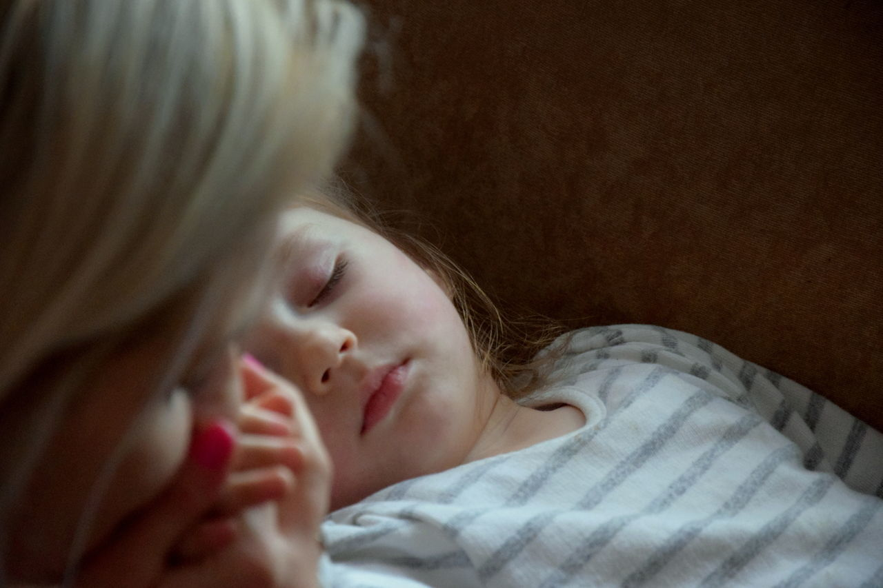 Child Children Only Two People Lying Down Bed Bedroom Childhood Relaxation Girls Indoors  Sleeping People Real People Close-up Domestic Life Day Mother Daughter Love Cute Nikon Poland
