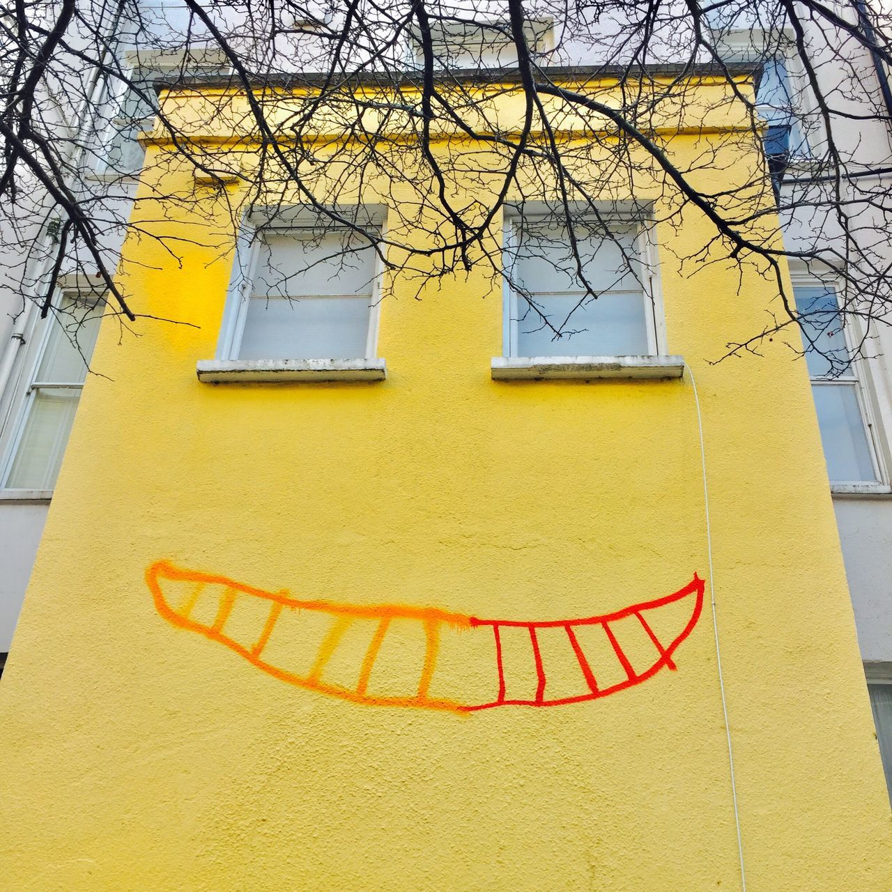 Adapted To The City The smiling house. Yellow Built Structure Building Exterior Architecture No People Residential Building Day Outdoors House Houses Houses And Windows Smile