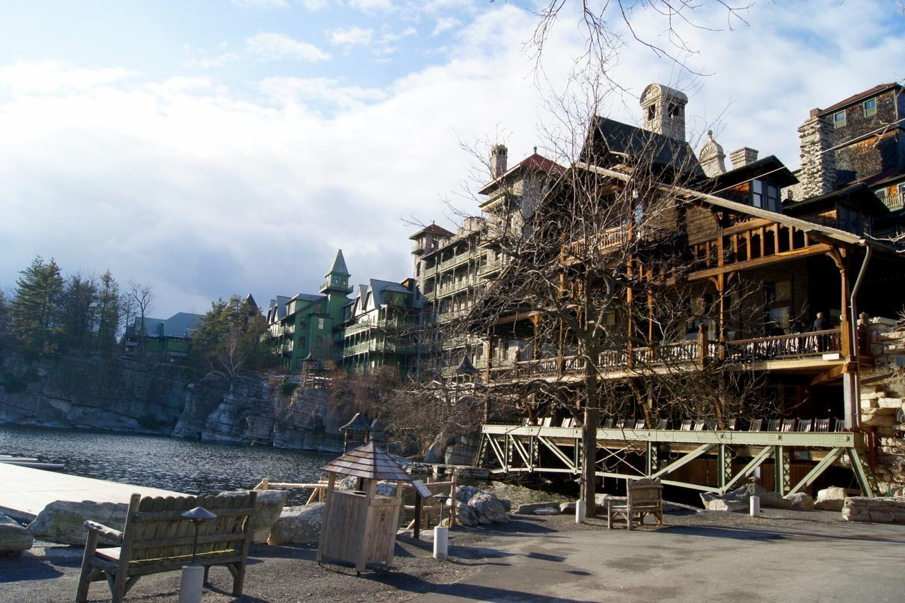 Mohonk Mountain House Architecture Building Exterior Built Structure Sky Railing Cloud Cloud - Sky Water Day Outdoors Canal Catskills Exterior Historic Old Town No People In Front Of Architecture