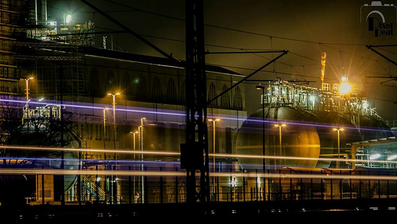 Night Illuminated Reflection Street Light Electricity  Fuel And Power Generation Connection Outdoors City Bridge - Man Made Structure Sky Electricity Pylon Architecture Langzeitbelichtung Faces Of EyeEm Station Train Light In The Darkness Canonphotography Canon600D @pixelpeat No People Kraftwerk