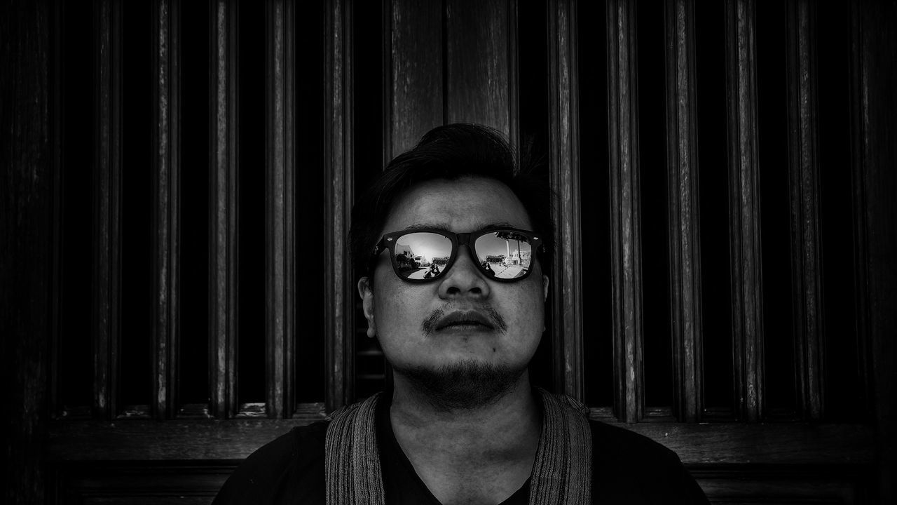 Look straight ahead! Black & White Georgetown Penang Penang Shade Black And White Blackandwhite Blackandwhite Photography Close-up Corrugated Iron Day Eyeglasses  Front View Glasses Headshot Indoors  Looking At Camera Malaysia One Person People Portrait Real People Solo Young Adult Young Women