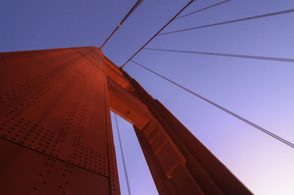 Golden Gate Bridge, San Francisco, USA Love Life, Love Photography Architecture Building Exterior Built Structure Clear Sky Close-up Day Low Angle View No People Red Sky Golden Gate Bridge Looking Up Architecture San Francisco Red Color Cable Rivets Clearsky Blue Sky Abstract
