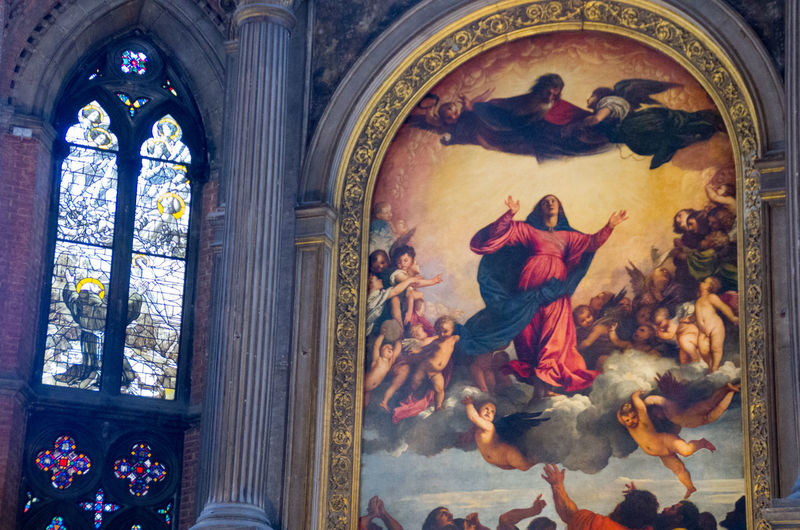 Architecture Assumption Church Church Of The Brothers Close-up Day Europe Human Representation Indoors  Italy No People Painting Place Of Worship Religion Renaisa Santa Maria Gloriosa Dei Frari Spirituality Stained Glass Window Titian Venice Venice, Italy Window