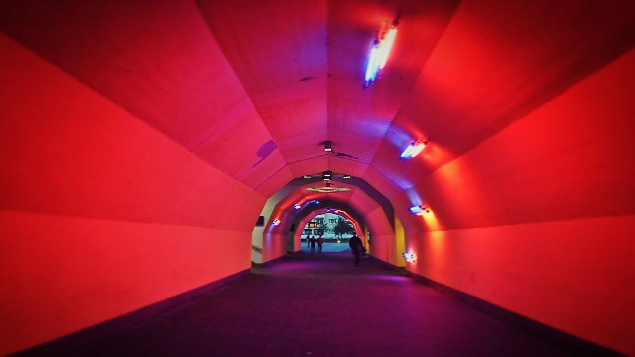 Tunnel Pedestrian Walkway Underpass Illuminated The Way Forward Diminishing Perspective Red City Life