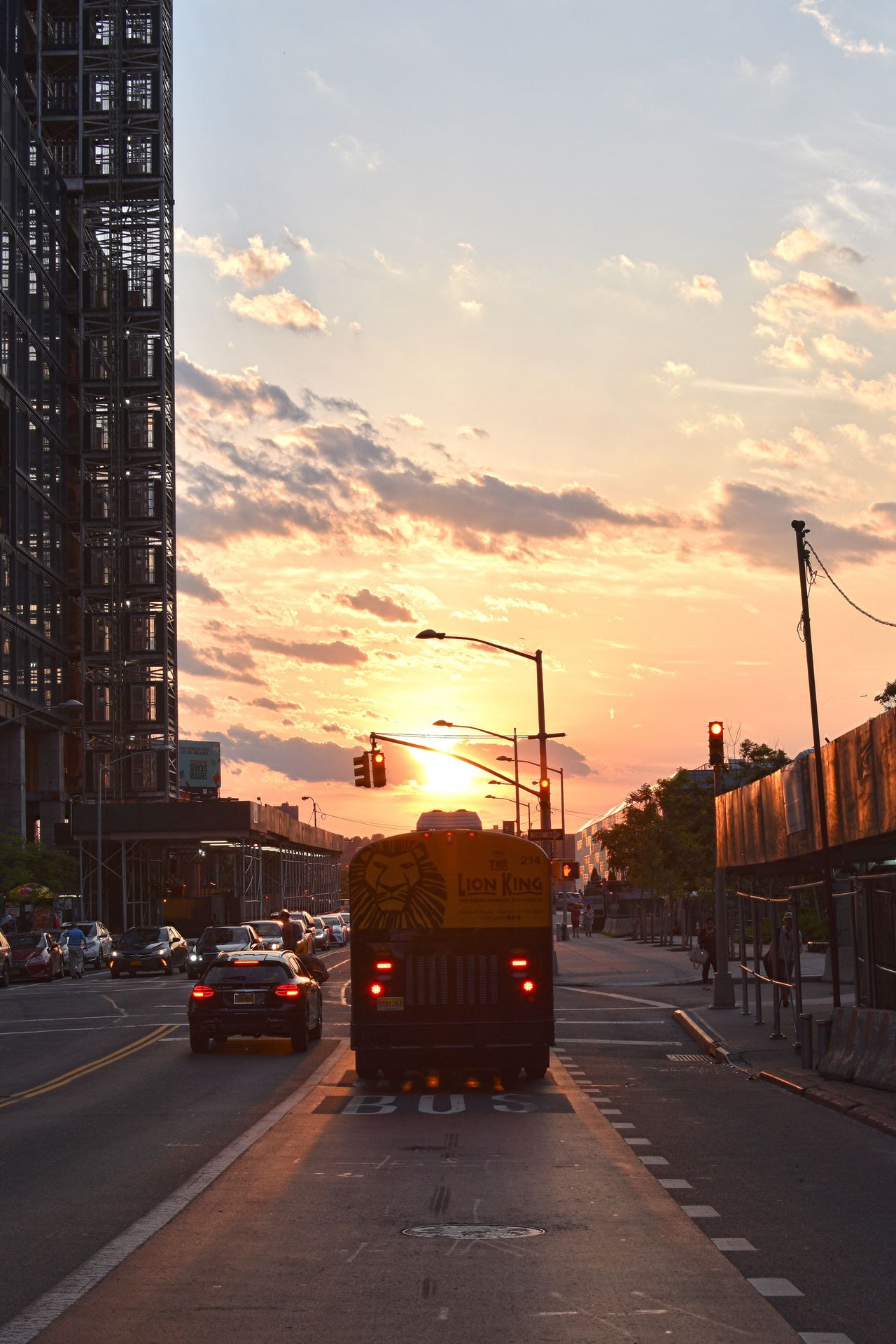 Sunset Transportation Sky Architecture Built Structure Land Vehicle Mode Of Transport Cloud - Sky Building Exterior Road Car City Outdoors No People Fire Engine Day Lion King Bus NYC NYC Street NYC Street Photography Sunset Silhouettes Silhouette_collection Silhouette NYC Photography Silhouettes