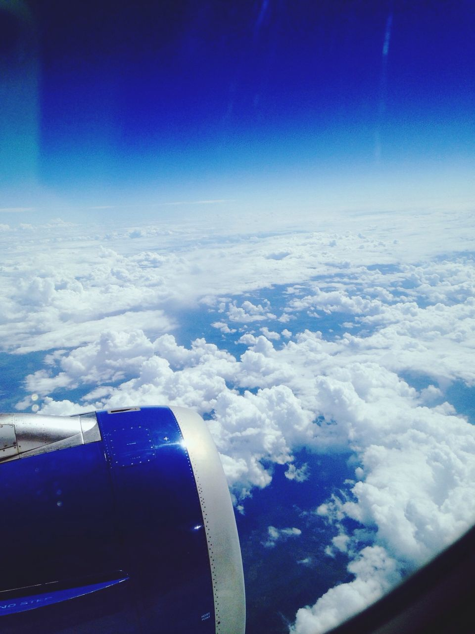 blue, sky, aerial view, airplane, beauty in nature, nature, cloud - sky, journey, cloudscape, scenics, transportation, no people, outdoors, tranquility, majestic, mode of transport, day, tranquil scene, airplane wing, travel, air vehicle, aircraft wing, flying, vehicle part, the natural world