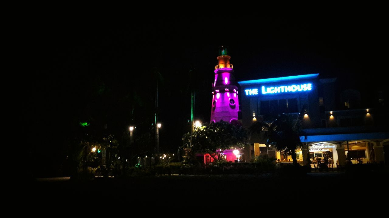 Night Architecture Neon Lighthouse SamsungJ7 Phonetography
