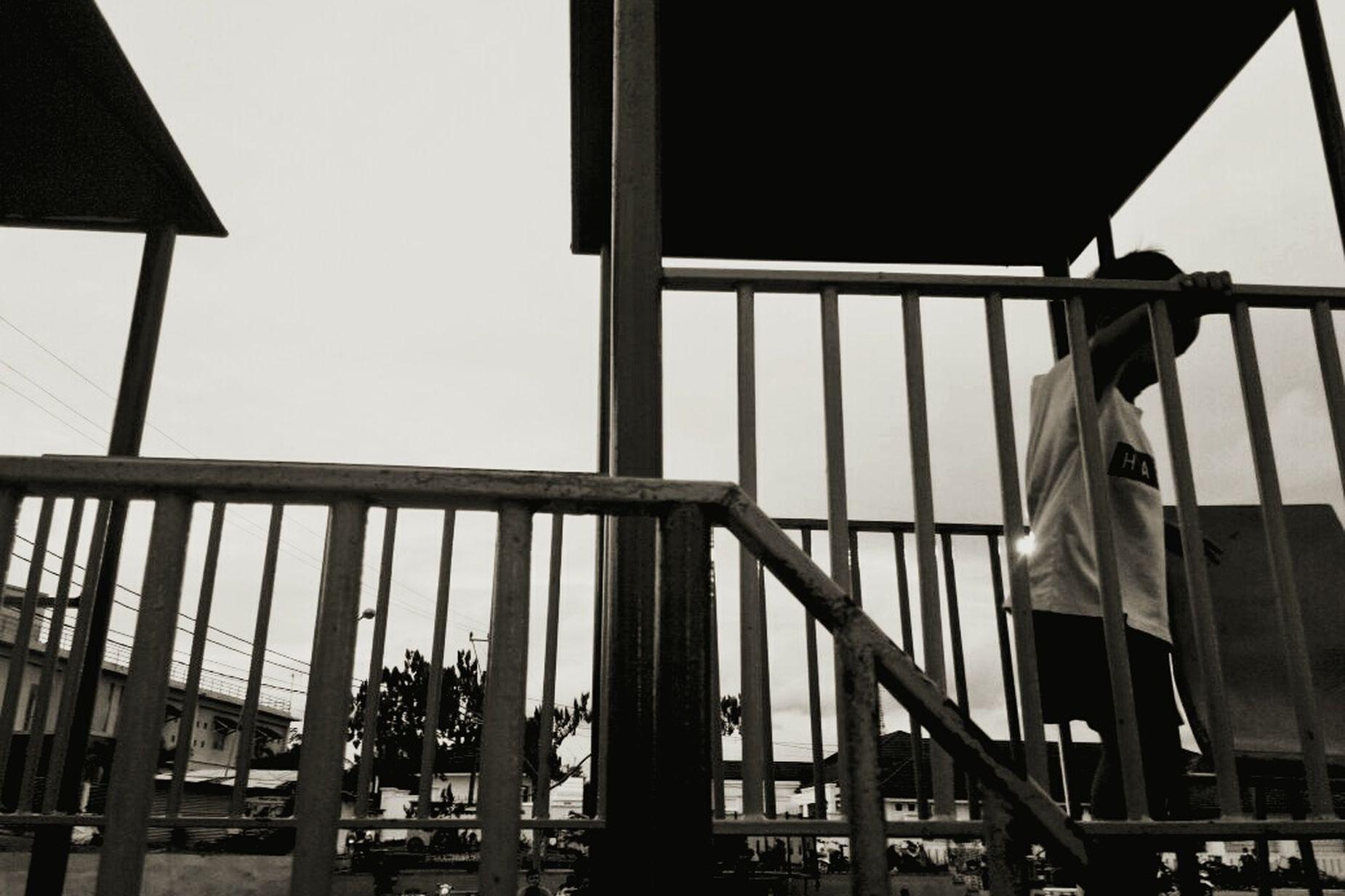 High Majeliskebudayaancilegon Roemahkaryamaslanggamraya Gerakanshodaqohkarya Kids Being Kids Climbing Try To Remember Bad Boy  Built Structure Architecture Low Angle View Day Outdoors No People Sky