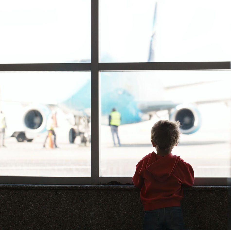 Beautiful stock photos of kids, rear view, transportation, airport, travel