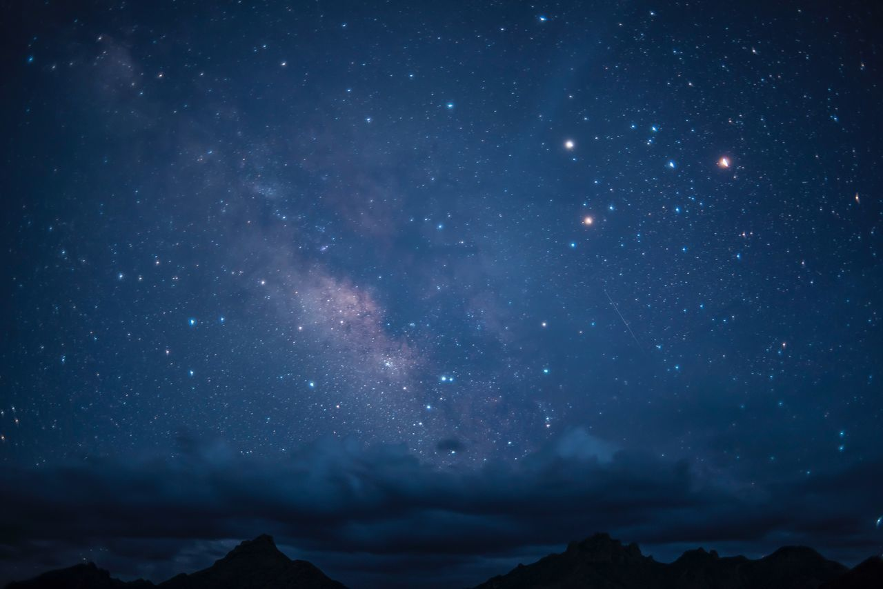 Beautiful stock photos of galaxy, night, scenics, star - space, tranquility