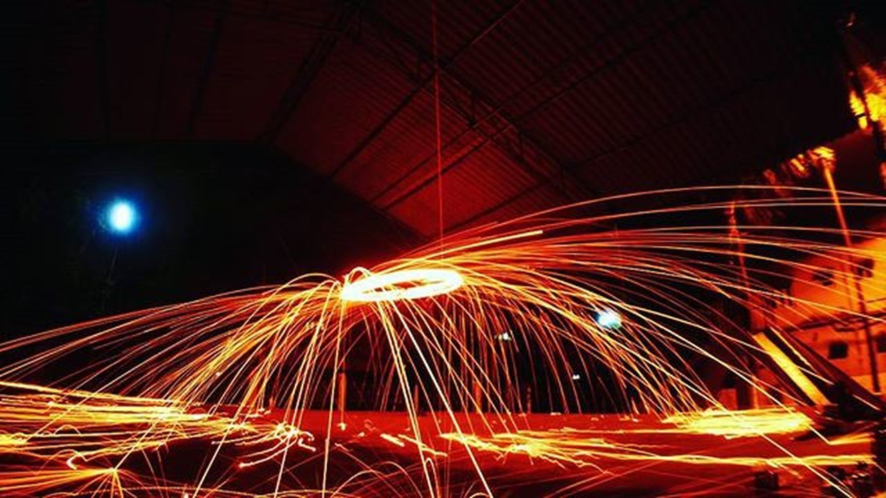 night, illuminated, long exposure, light trail, speed, motion, red, no people, city, indoors, sky