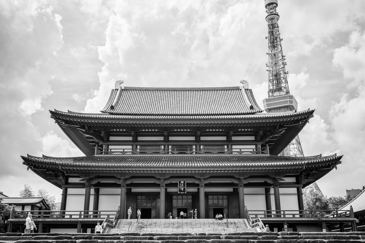 Zojo Ji Shrine Architecture Bell Blackandwhite Built Structure Day Japan Japanese  Low Angle View Religion Religions Shrine Tokyo Tokyo Tower Tokyo Tower Tower Zojojitemple The Architect - 2016 EyeEm Awards Fine Art Photography