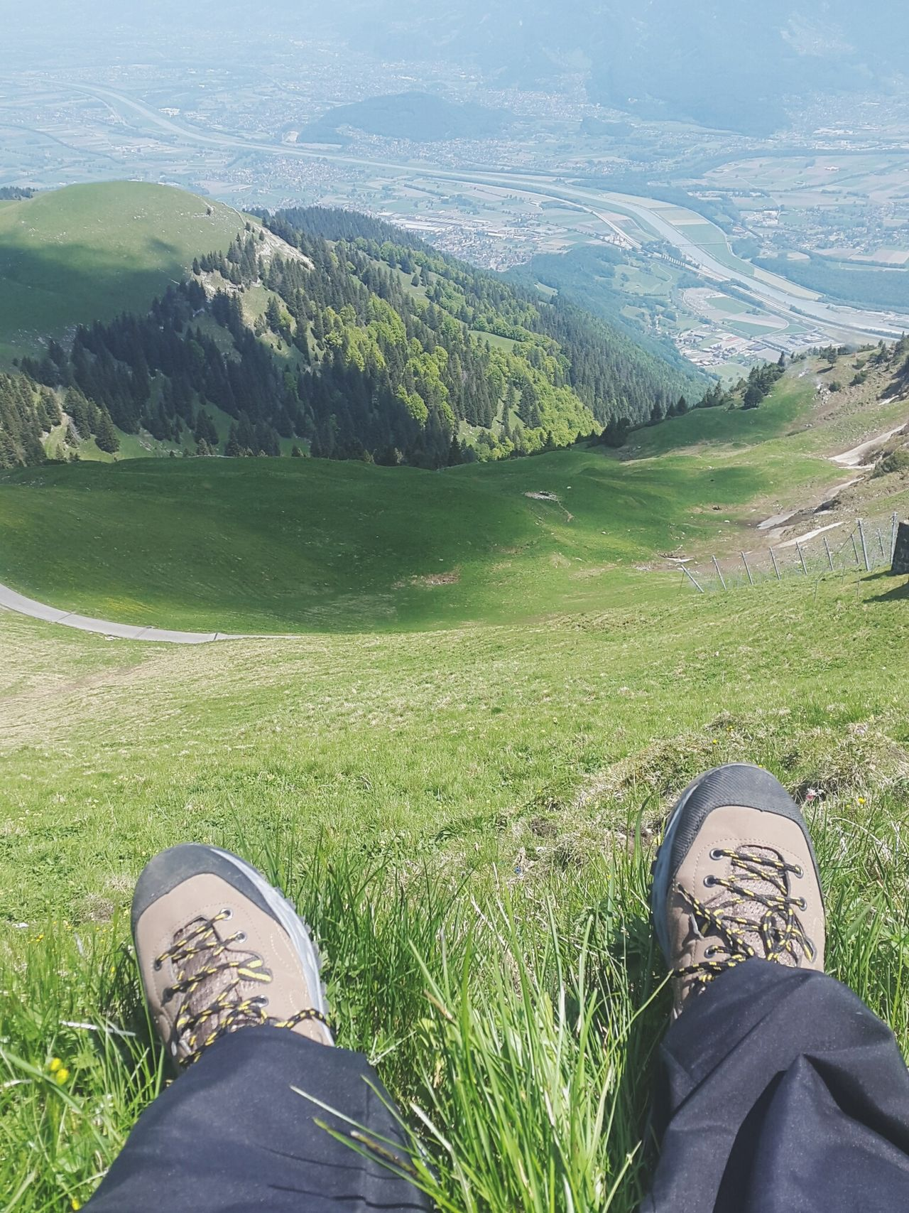 Out Of The Box Shoe Scenics Landscape Grass High Angle View Adventure Human Body Part Switzerland Grass Majestic Nature Awe Outdoor Environmental Conservation Tracks Longing Field Mountain Tranquil Scene