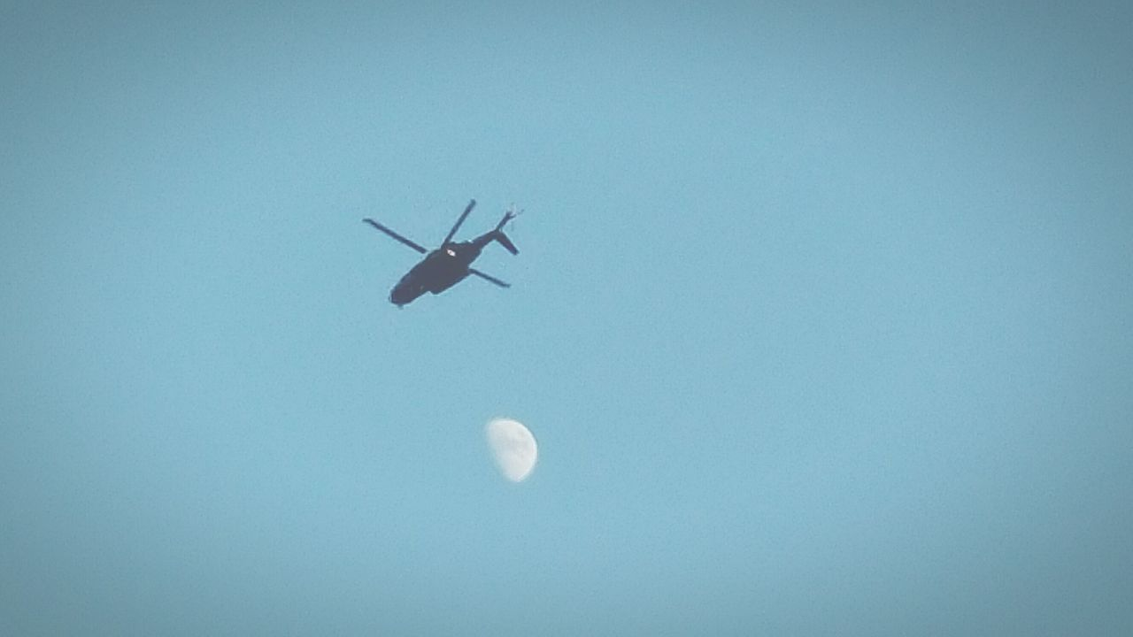 Helicopter Emergency Medical Service Moon During Day Blue Wave