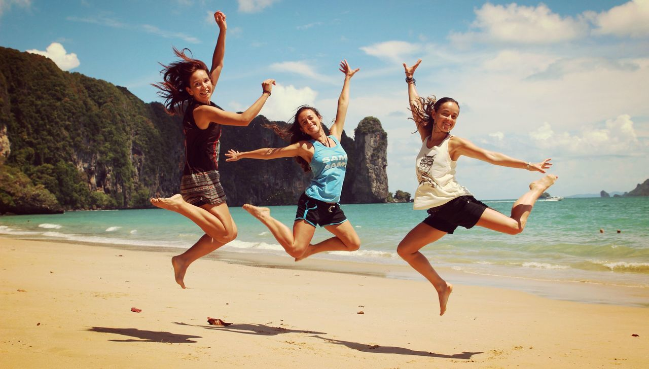 Beautiful stock photos of girl, Arms Raised, Beach, Beauty In Nature, Bonding