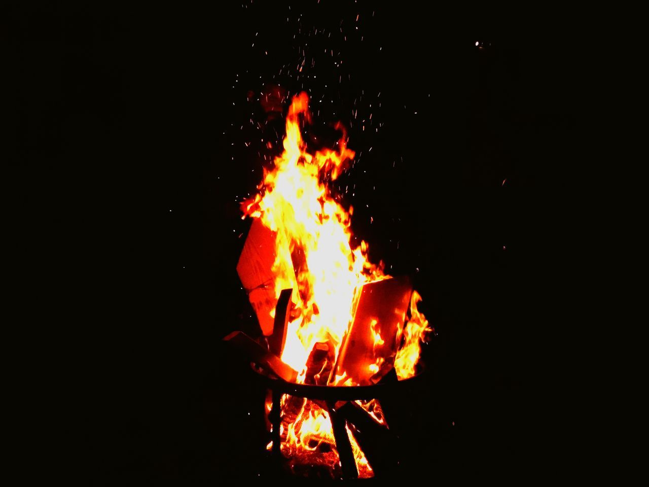 flame, burning, heat - temperature, night, bonfire, campfire, outdoors, no people, close-up