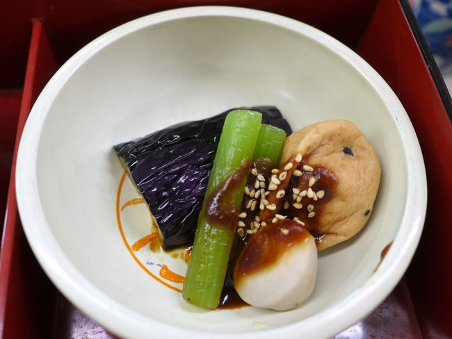 Boiled Vegetables Bowl Close-up Delicious Eggplant Food Japanese Food Lacquer Box Nimono Ready-to-eat Sauce Serving Size Sesame Seeds