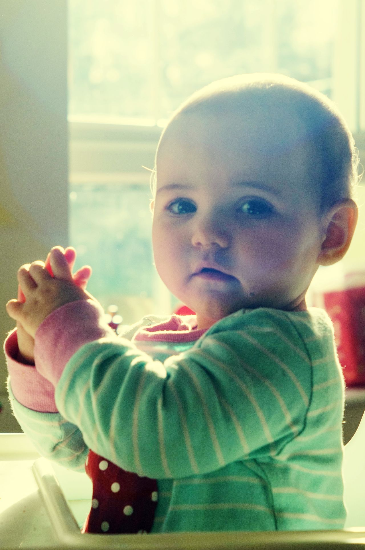 Childhood Child Playing Baby One Person Day Toddler  People Window Babies Only Indoors  Sunlight Human Body Part Happiness Smiling Close-up Warm Clothing Human Hand Sky Adult Clapping Sunlight And Shade
