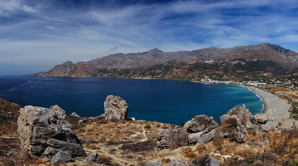 Bay Beach Beauty In Nature Blue Crete Day EyeEm Nature Lover Landscape Mediterranean Sea Mountain No People Outdoors Panorama Plakias Road Scenics Sea Seascape Travel Water Wide Angle